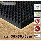 B-Ware in geprüfter Qualität nochmals bis zu 50% reduziert!! 1 x Akustikschaumstoff ca. 50x50x5cm, Anthrazit Schwarz, Schaumstoff Noppenschaum