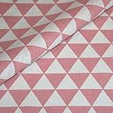 Canvas Geometrisch gemustert Baumwolle Stoff Meterware Dekostoff Bezugsstoff Dreieck Muster rosa weiß