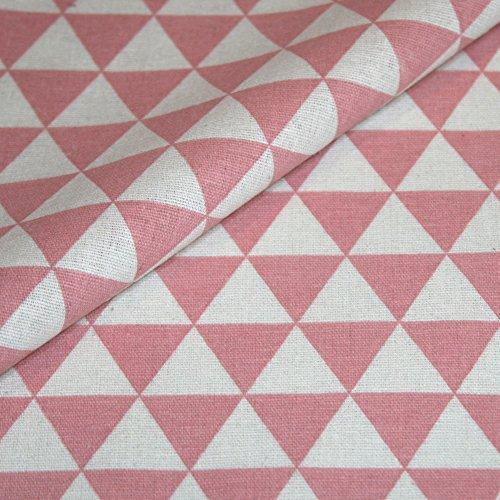 Canvas Geometrisch gemustert Baumwolle Stoff Meterware Dekostoff Bezugsstoff Dreieck Muster rosa weiß (Stoff Geometrisches Muster)