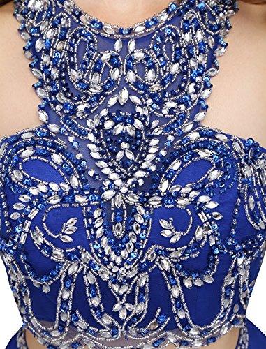 Dressystar Robe femme, Robe de bal courte 2 pièces, dos nu, aux strass perles à fleur, en mousseline Lilas