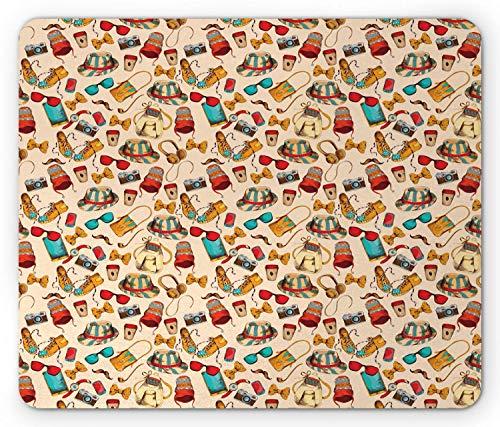 Hipster Mouse Pad, Vintage-Mode-Accessoires Kopfhörer Sonnenbrillen Kamera Hut Fliege Kultur Print, Standardgröße Rechteck Rutschfeste Gummi Mousepad, Multicolor,Gummimatte 11,8