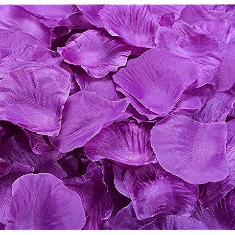 Hosaire 1000 pz petali di rosa in seta bianca per feste matrimonio,Verde viola