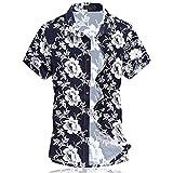 Cloudstyle Herren Urlaub Strand Hawaii Blattaufdruck-Hemd (X-Large, 662weiß)