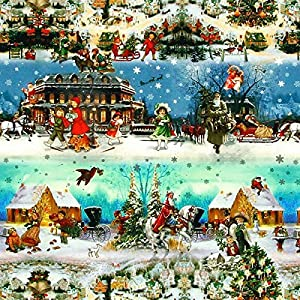 Fabulous Fabrics Halbpanama farbmix, Weihnachten, 140cm breit - Halbpanama zum Nähen von Kissen, Vorhängen und Tischdecken - Meterware erhältlich ab 0,5 m