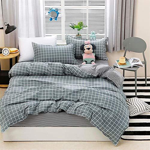 UOUL Bettwäscheset Baumwolle 4 Stück Verblasst Nicht Plaid Grau Blau Atmungsaktiv Sommer Teen Schlafzimmer Twin Voll,Lattice E,California King -