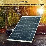 Hylotele 30W 12V Panel Solar Semi Flexible Cargador Solar Baterías Cargador de Coche Portátil Fotovoltaico Sunpower Panel Módulo Solar para Pequeños Electrodomésticos