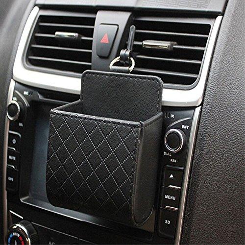 Auto aufbewahrungstasche Handyhalterung Kunstleder Lüftungsschlitz Tasche Universal Organizer für Handy Schlüssel Geldbeutel Tassen Cubby Box (Schwarz) (Cubby Organizer)