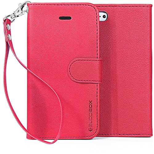 iPhone 5 C Wallet Fällen, buddibox, Pink with Wrist Strap
