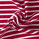 Das Blaue Tuch, Bio- Stoff, Streifen-Jersey, rot/ weiß