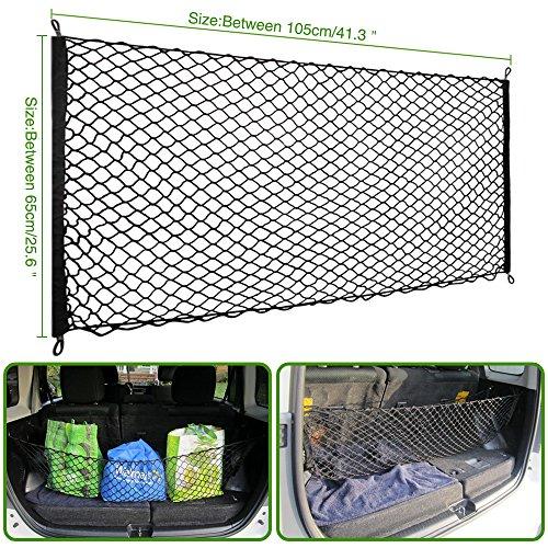 105 X 65 cm rete bagagliaio per Tettuccio Elastica Portapacchi Rete Nera Elastica Premium Corda per Bagagli Copertura in Rete con ganci regolabili