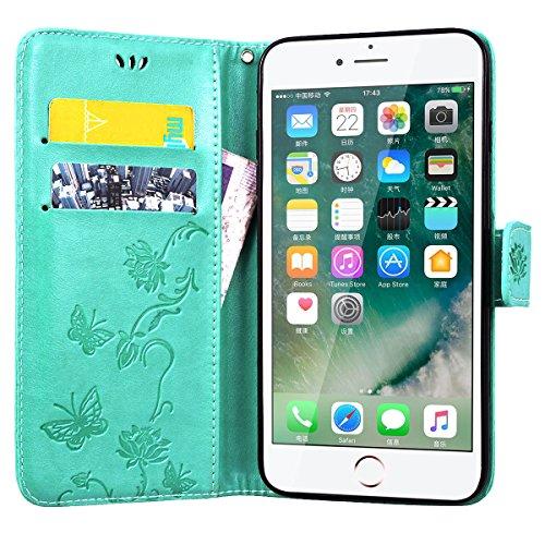 SMART LEGEND Lederhülle für iPhone 7 Plus Ledertasche Hülle Blau Drucken Weinstock Muster Schutzhülle Premium PU Leder mit Handschlaufe Flip Case Protective Cover Innere Weiche Silikon Bookcase Handy  Grün