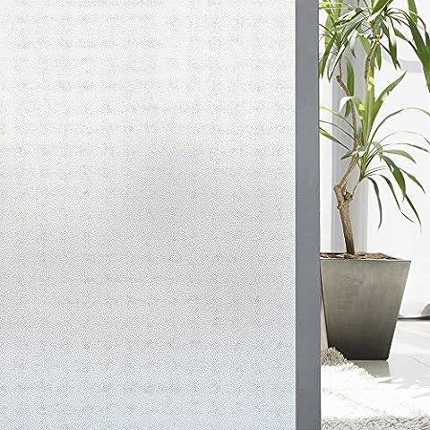 Zilong Film Électrostatique Protége Intimité Film Dépoli de Fenêtre Autocollant de Fenêtre Décoration Réutilisable pour Bureau / Salle de Bain/ Cuisine/ Chambre (90*200cm, Blanc)