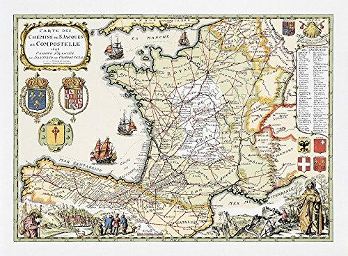 Die Schweiz-antiken-karte (Karte Chemins de Saint Jaques de Compostelle)