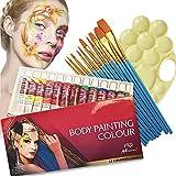 visage peint des couleurs de maquillage professionnel kit, 12 tubes de peinture corporelle non toxique et hypoallergéniques, maquillage d'halloween, riche cycle pigment, viens avec 10pieces extrémité effilée nylon brosse à cheveux et palette