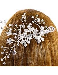Schmuckanthony Best-Seller Handarbeit Hochzeit Brautschmuck Haarschmuck Haarkamm Blumen Blätter Kristall klar Transparent Perlen Ivory Elfenbein Weiß