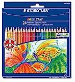 Staedtler 144 NC24 Bunstifte Noris Club (erhöhte Bruchfestigkeit, sechskant, Set mit 24 brillanten Farben, ABS-System, kindgerecht nach DIN EN71, umweltfreundliches PEFC-Holz, Made in Germany)
