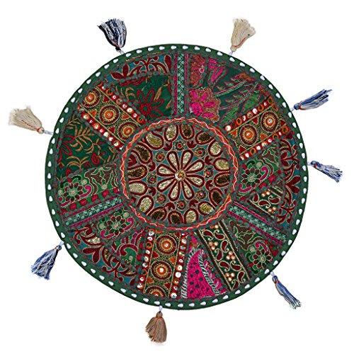 Stylo Cojín de Almohadilla de Piso de algodón de algodón decoración Bordada étnica 18'Asiento de Color Verde Oscuro