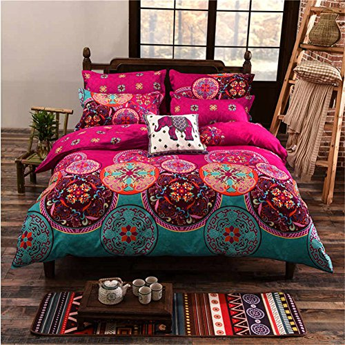 Boho Betten Set, Stillshine modernes elegantes 4 Stück Bohemian Exotic Style Lightweight Microfiber Bettwäsche-Set Bettwäsche Set, Single Size, 150x200CM, Style #9