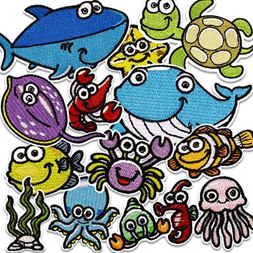 n Kinder, 14 Stück Patches zum Aufbügeln Meerestiere Aufnäher Applikation Flicken Zum Aufbügeln für DIY T-Shirt Jeans Kleidung Taschen ()