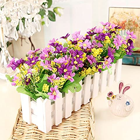 Fiori artificiali ShiQi vero tocco di fiori finti in plastica Vaso di fiori di ornamenti Soggiorno Festival Home giardino decorazione di nozze 30 White Picket Fence viola, farfalle e fiori
