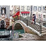 LZHProcess Regalo Pittura ad Olio Amore sul Ponte Fai da Te Pittura ad Olio Decorativo Pittura da Numeri per i Bambini Kit Vacanza Regalo Artigianato Carta da Parati d'Arte amp;
