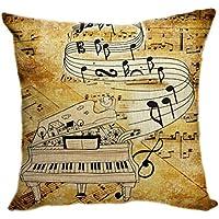 violetpos funda de cojín decorativo sofá cojín funda Auto Fundas de cojín fundas de almohada Retro Guitarra Música Notas Piano, lino, marrón, 55 x 55 cm
