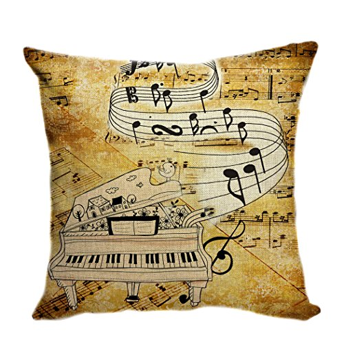 violetpos funda de cojín decorativo sofá cojín funda Auto Fundas de cojín fundas de almohada Retro Guitarra Música Notas Piano, lino, marrón, 40 x 40 cm