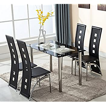 508861a49e0a4 KOSY KOALA MIDNIGHT GLASS KITCHEN DINING TABLE WITH 4 BLACK HIGH BACK REST  CHAIRS