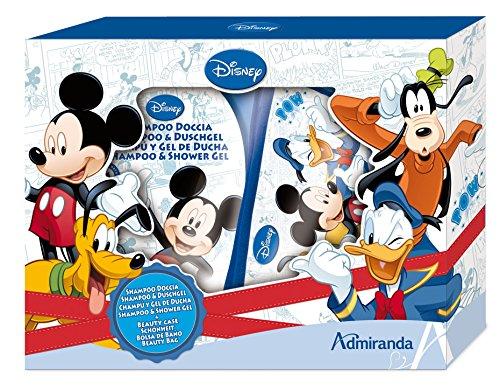 Disney Mickey und Friends Geschenkset-Shampoo/Duschgel, Kulturtasche mit Foto, 1er Pack (1 x 2 Stück)