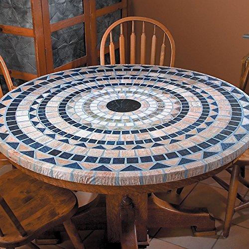Table Magic Mosaik Tischdecke rund 91,4cm zu 121,9cm Elastic Edge Spannbettlaken Vinyl Tisch Cover Vesuv Stein Muster Braun Schwarz - Edge Kindersicher