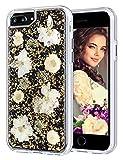 iPhone 7 Plus/8 Plus Hülle, Coolden® Elegant [Echt Blumen] Glitzer Handyhülle Silikon TPU Rahmen + Durchsichtig PC Rückseite Handarbeit Mädchen Handytasche für iPhone 6S Plus/7 Plus/8 Plus(Gold)