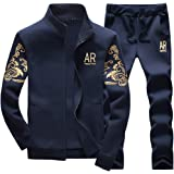 MANLUODANNI Men's Tracksuit Sets Bottoms Full Zip Jogging Gym Suit Jacket with Pockets