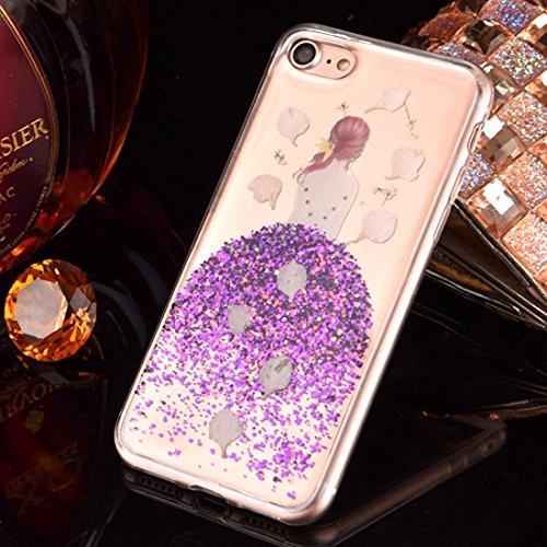 GR Weiche TPU Epoxy Dripping gepresste echte getrocknete fallende Blumen Glitter Powder Girl Schutzhülle Back Cover für iPhone 7 Plus ( Color : Yellow ) Purple