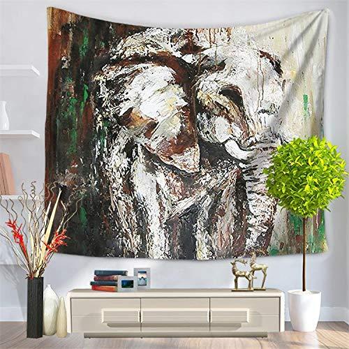 andala-Bunte Elefant Bedruckte Tapisserie Wandbehang Strand Wurfmatte Hippie-Tagesdecke Yoga-Matte Decke, 150cmx130cm, O24 ()
