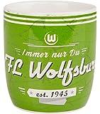 VfL Wolfsburg Tasse Kaffeebecher Henkeltasse Retro Design Immer nur Du aus Keramik Füllmenge 0,3 l Fanartikel