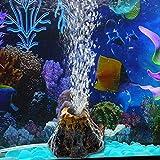 TONGXU Acquario Vulcano Ornamento Decorazione Vasca per i Pesci Vulcano Acquario Pietra a Bolle d'Aria Pompa di Ossigeno
