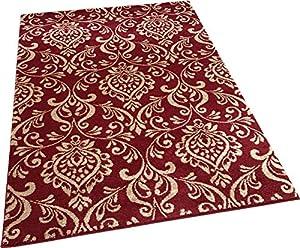Damask Red Beige Modern Designer Extra Large Soft Rug by Modern Style Rugs