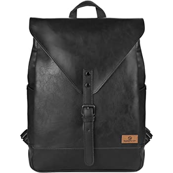 Koolertron Zaino Classica Casual Cuoio Unisex Scuola Laptop per Acer Aspire MacBook iPhone iPad and Samsung Tablet (Nero)