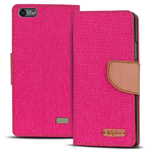 Verco G Play Mini Hülle, Schutzhülle für Huawei G Play Mini Tasche Denim Textil Book Case Flip Case - Klapphülle Pink