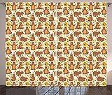 ABAKUHAUS Ape Tenda, Grizzly Bear Mangiare Miele, Lavabile in Lavatrice Due Pannelli Set, 280 x 225 cm, Multicolore