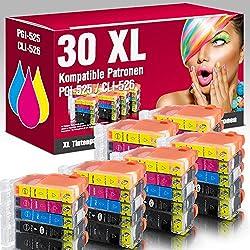 Ms-point ® 30 cartouches d'encre avec puce et jauge pour imprimante canon pixma iP4850 iP4950 iX6550 mG5150 mG5250 mG5300 mG5350 mG6150 mG5140 mG5240 mG5340 mG6200 mG8200 mG6250 mG8150 mG8250 mX715 mX885 mX895 mG8240 mX710 mX890 cartouches d'encre compatible avec pGI - 525, cLI - 526BK, cLI - 526C, cLI- 526 m, cLI - 526Y