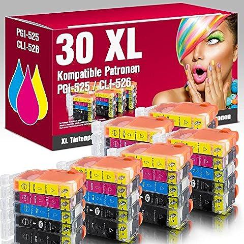 ms-point® 30 kompatible Druckerpatronen mit CHIP und Füllstandsanzeige für Canon Pixma IP4850 IP4950 IX6550 MG5140 MG5150 MG5240 MG5250 MG5300 MG5340 MG5350 MG6150 MG6200 MG6250 MG8150 MG8200 MG8240 MG8250 MX710 MX715 MX885 MX890 MX895 Patronen kompatibel zu PGI-525, CLI-526BK, CLI-526C, CLI-526M, CLI-526Y