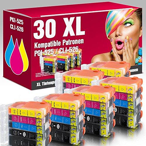 ms-point 30 kompatible Druckerpatronen mit CHIP und Füllstandsanzeige für Canon Pixma IP4850 IP4950 IX6550 MG5140 MG5150 MG5240 MG5250 MG5300 MG5340 MG5350 MG6150 MG6200 MG6250 MG8150 MG8200 MG8240 MG8250 MX710 MX715 MX885 MX890 MX895 Patronen kompatibel zu PGI-525, CLI-526BK, CLI-526C, CLI-526M, CLI-526Y