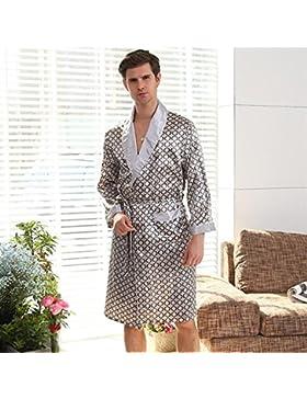 SUxian Gran Albornoz de los Hombres del patrón del círculo de Manga Larga Albornoz camisón Pijama
