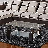 UEnjoy Glass Coffee Table Rectangular Black Legs In Oak