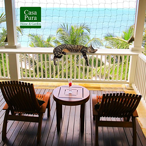 casa pura® Katzennetz | mit Befestigungsseil | Katzenschutz für Balkon, Terrasse, Fenster und Tür | reißfest, aus hochfestem Nylon | 2,5 x 6 m