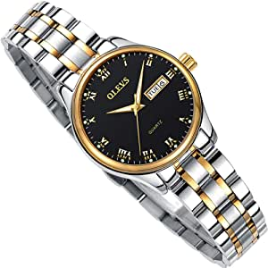 Day Date Watches for Women,Ladies Dress Watches with Stainless Steel Watches for Small Wrists Women,Fashion Classic Women Wrist Watches Black,Luxury