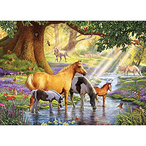 DIY 5D Diamond Painting by Number Kit for Adult,Full Drill Diamond Painting Animal Horse,Lake,Embroidery Cross Stitch Arts Craft Home Wall Decoration,15.7×11.8in