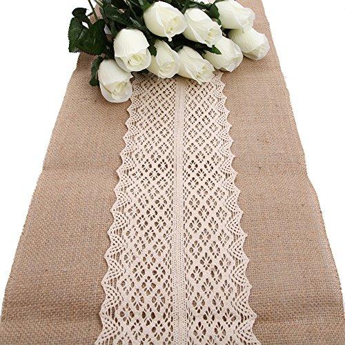 �ufer mit Baumwolle Spitze Natur Jute Tischband Hochzeit 200x30cm Tischdecke Tischdekoration für Hochzeit Drinnen Draußen Hochzeit Dekoration Hessischen Sackleinen Tabelle Läufer ()