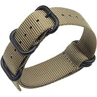 AUTULET 18-24mm Noir Remplacement de de Style Bracelet Bande Montre Nylon balistique pour Les Hommes